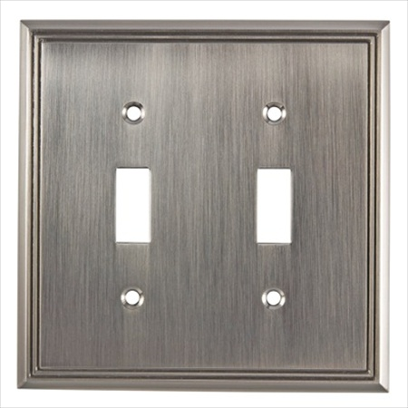 Richelieu Hardware Bp8533195 Contemporary Decorative Switch Plate 2 Toggle 123X123MM Brushed Nickel Finish