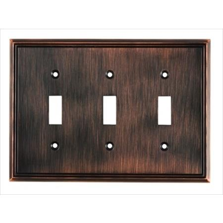 Richelieu Hardware Bp85333Borb Contemporary Decorative Switch Plate 3 Toggle 172X123MM Burnished Oil Rubbed Bronze Finish