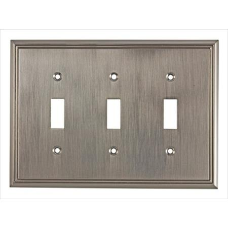Richelieu Hardware Bp85333195 Contemporary Decorative Switch Plate 3 Toggle 172X123MM Brushed Nickel Finish