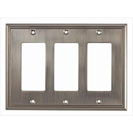 Richelieu Hardware Bp85111195 Contemporary Decorative Switch Plate 3 Toggle 172X123MM Brushed Nickel Finish