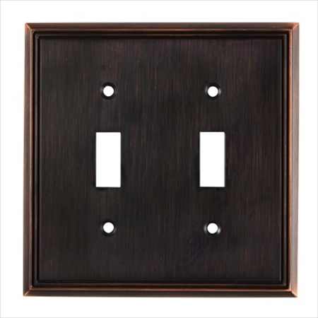Richelieu Hardware Bp8533Borb Contemporary Decorative Switch Plate 2 Toggle 123X123MM Burnished Oil Rubbed Bronze Finish