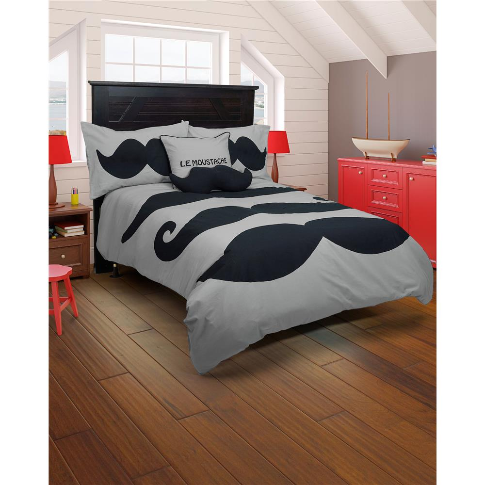 Rizzy Home BT1404 Le Moustache Full Comforter Bed Set in Gray
