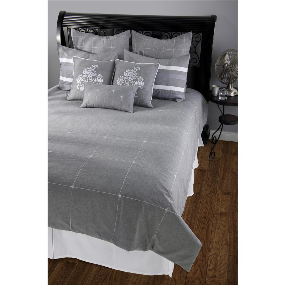 Rizzy Home BT0708 Paris Queen Duvet with Poly Insert Bed Set in Gray