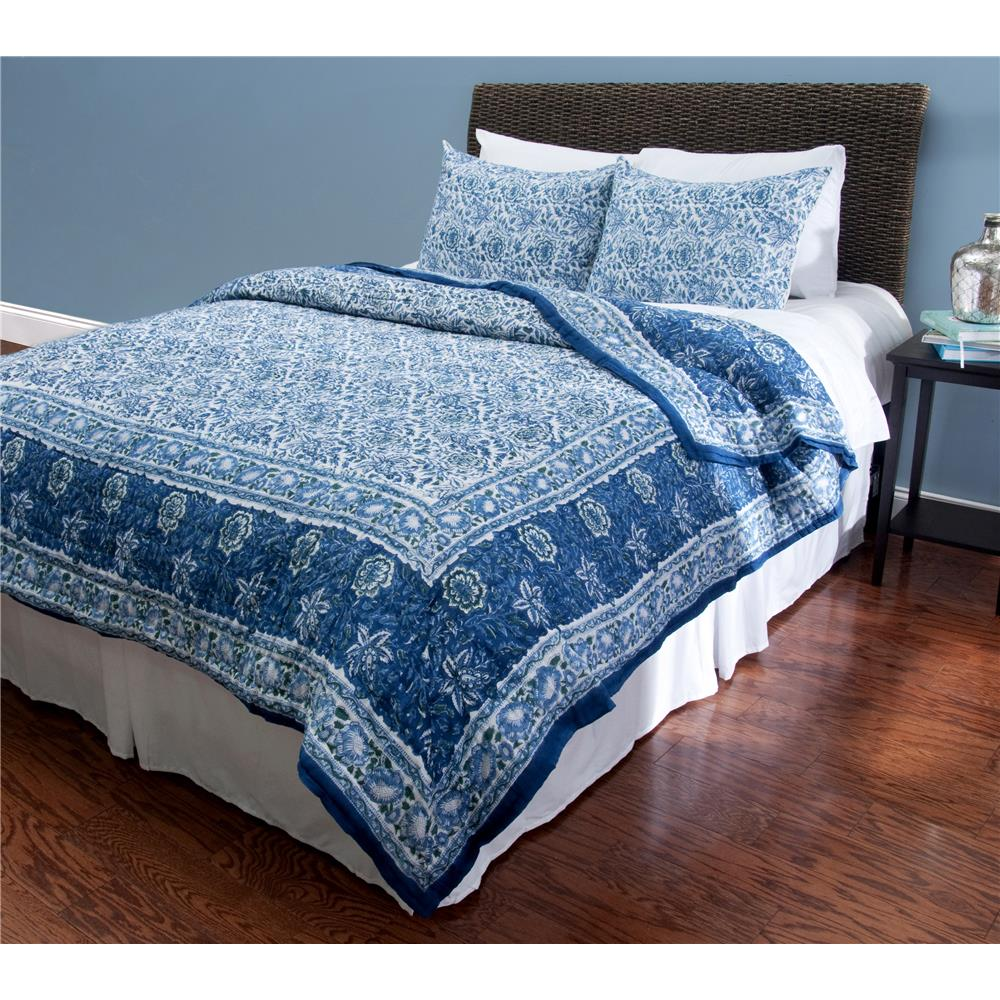 Rizzy Home BT1150 Paulina Queen Quilted Bed Set in Blue