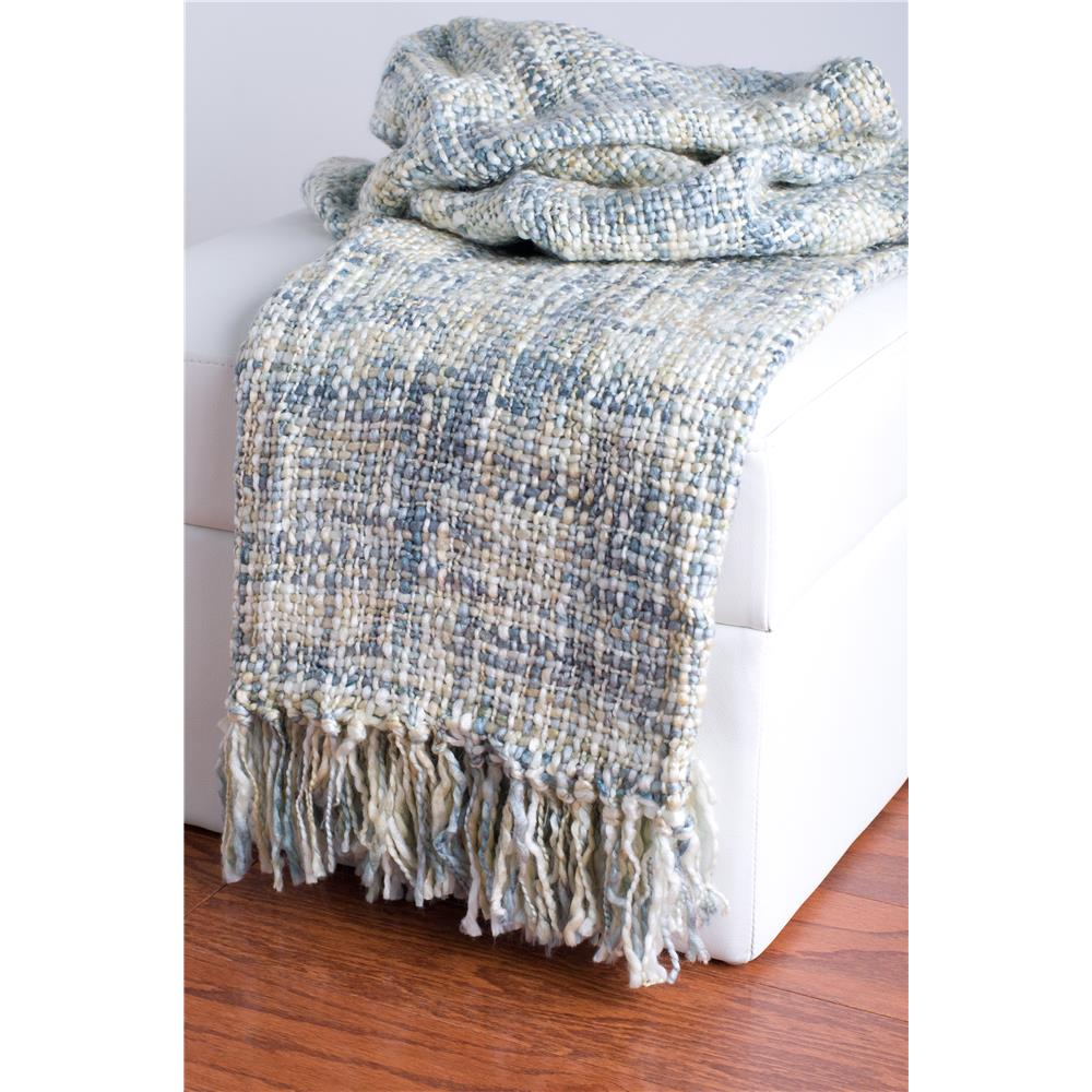 Rizzy Home TH0092 Loom Woven with Fringe Throw in Blue
