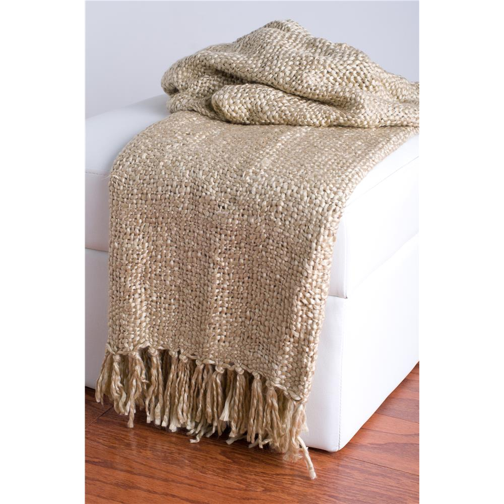 Rizzy Home TH0114 Loom Woven with Fringe Throw in Natural