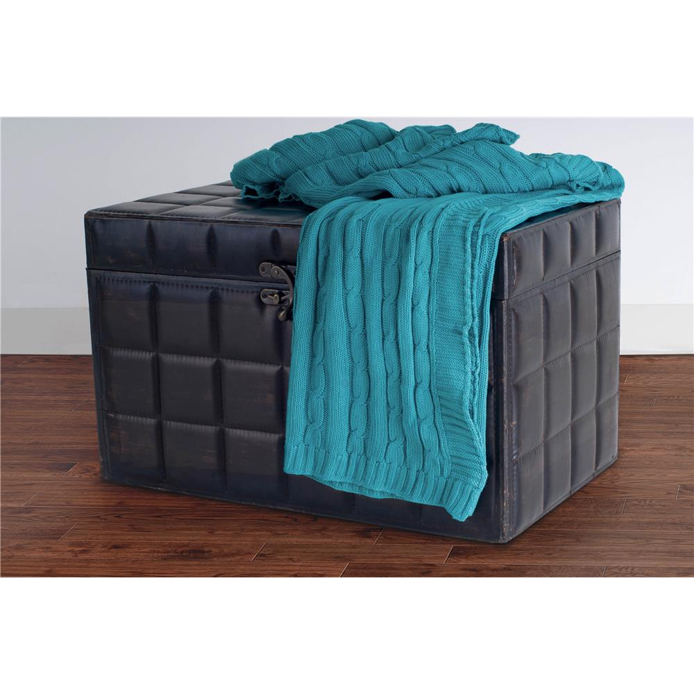Rizzy Rugs TH0158 Turquoise classic cable knit stitch throw