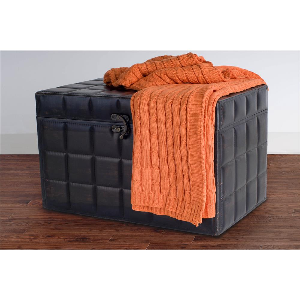 Rizzy Rugs TH0160 Orange classic cable knit stitch throw