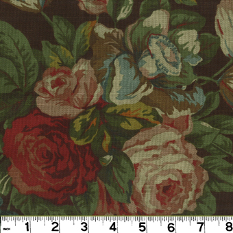 Roth and Tompkins PRI-029 ENGLISH GARDEN Fabric in BROWN