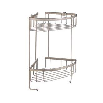 Smedbo D2031N 7 5/8 in. Wall Mounted Double Level Corner Basket in Brushed Nickel from the Sideline Collection