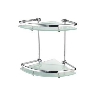 Smedbo FK464 11 in. Wall Mounted 2 Tiered Bathroom Corner Shelf in Polished Chrome from the Outline Collection