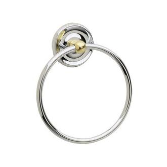 Smedbo K244V 6 in. Towel Ring in Brushed Chrome with Polished Brass Accents from the Villa Collection