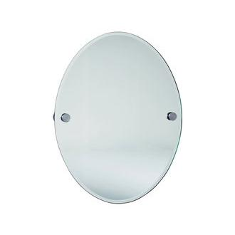 Smedbo LS310 24 in. Wall Mounted Oval Mirror in Brushed Chrome from the Loft Collection