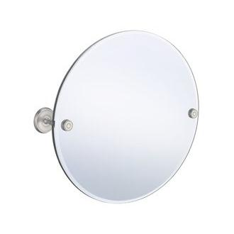 Smedbo V210N 22 in. Wall Mounted Round Mirror in Brushed Nickel from the Villa Collection