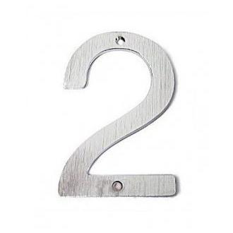 Smedbo V982 4 3/4 in. Brushed Chrome House Number 2