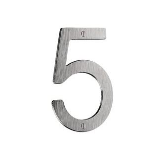 Smedbo V985 4 3/4 in. Brushed Chrome House Number 5