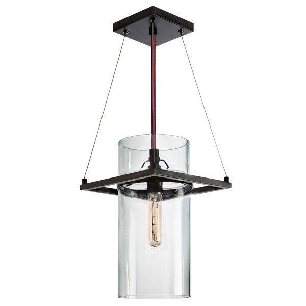 Sonneman 4761.25 SQUARE RING 1-Light Pendant in Satin Black