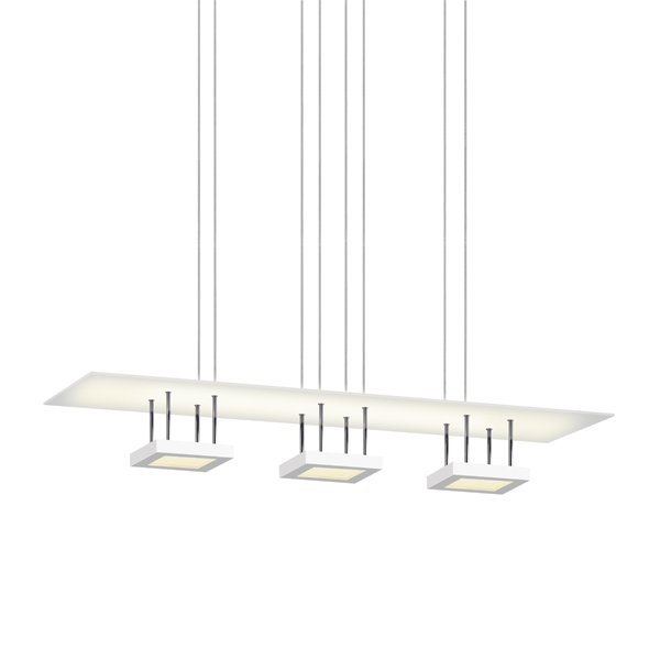 Sonneman 2413.03 Chromaglo™ Bright White LED 3-Light Reflector Pendant in Satin White