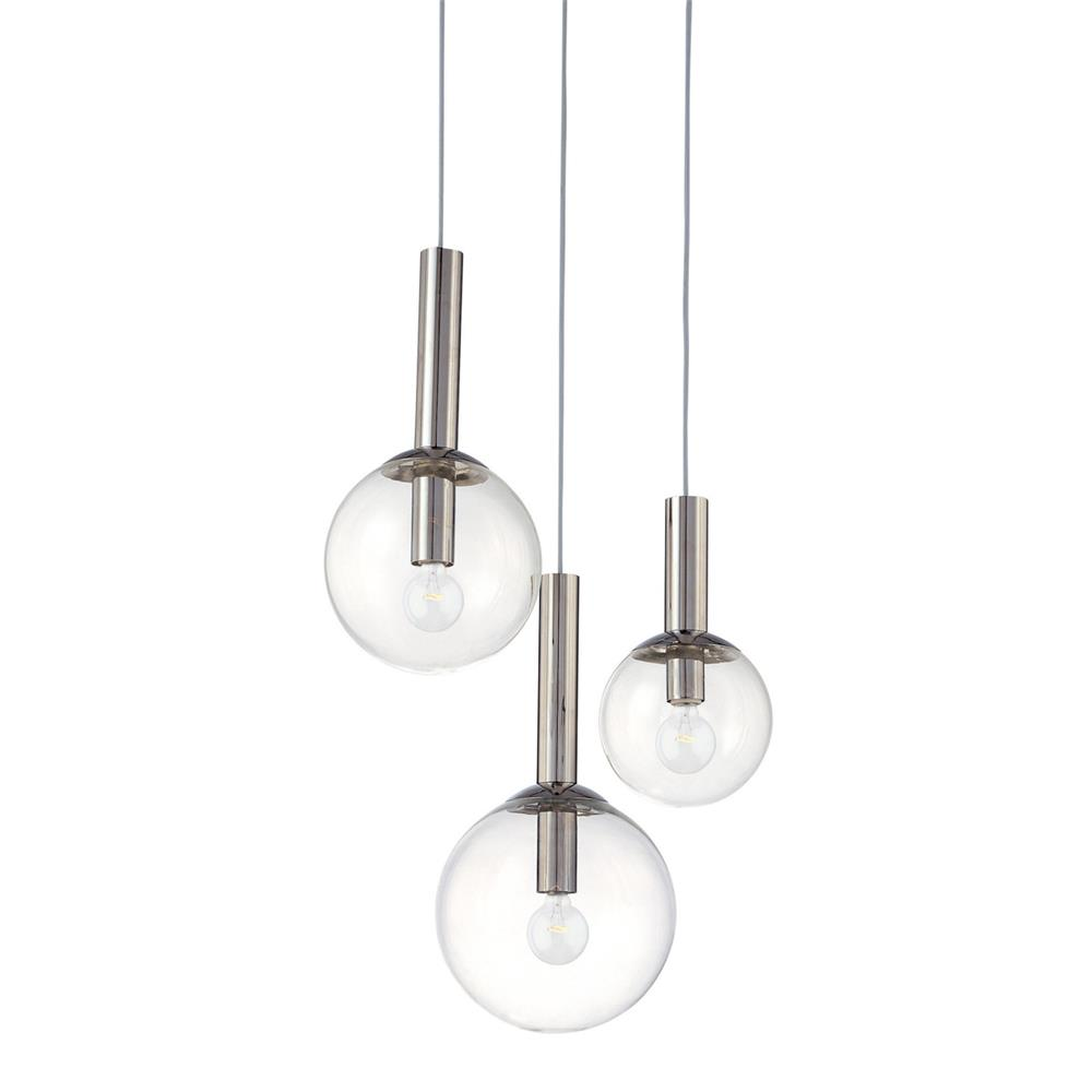 Sonneman 3763.35 Bubbles 3-Light Pendant in Polished Nickel