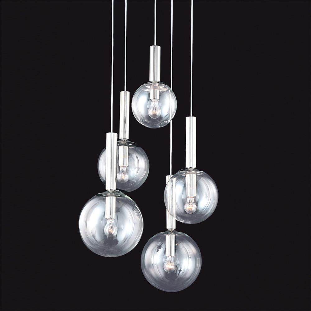 Sonneman 3765.35 Bubbles 5-Light Pendant in Polished Nickel