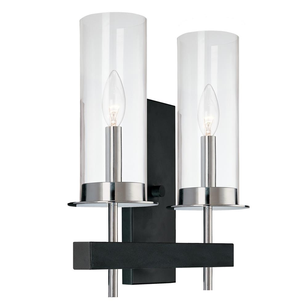 Sonneman 4062.54 Tuxedo Double Sconce in Polished Chrome and Black