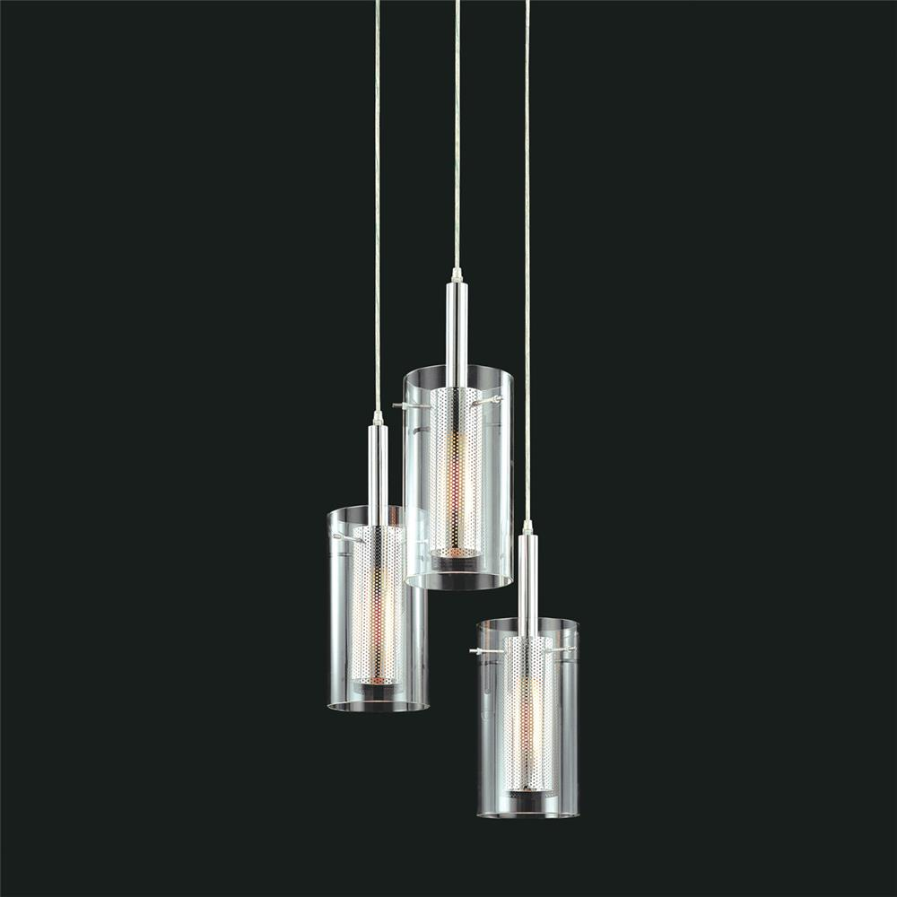 Sonneman 4395.57 Zylinder 3-Light Round Pendant in Chrome/Black