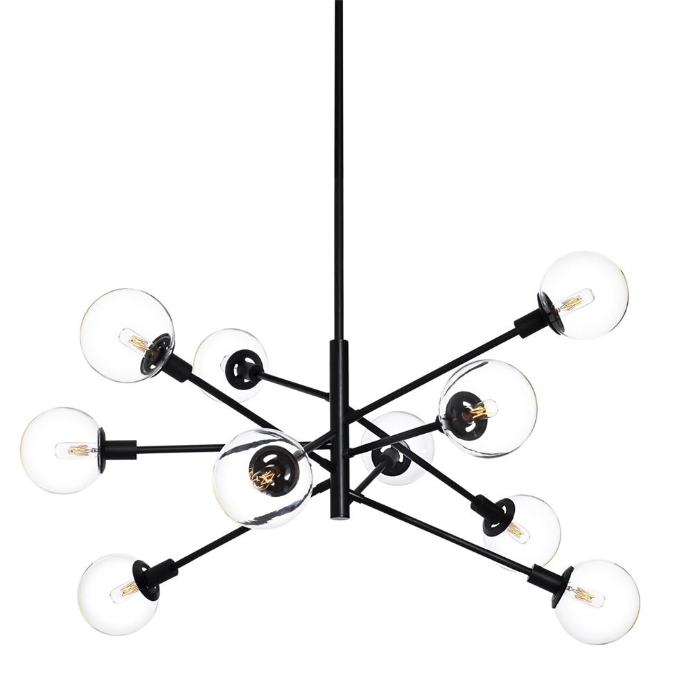Sonneman 4599.25C Orb Vectors 10-Light Pendant in Satin Black
