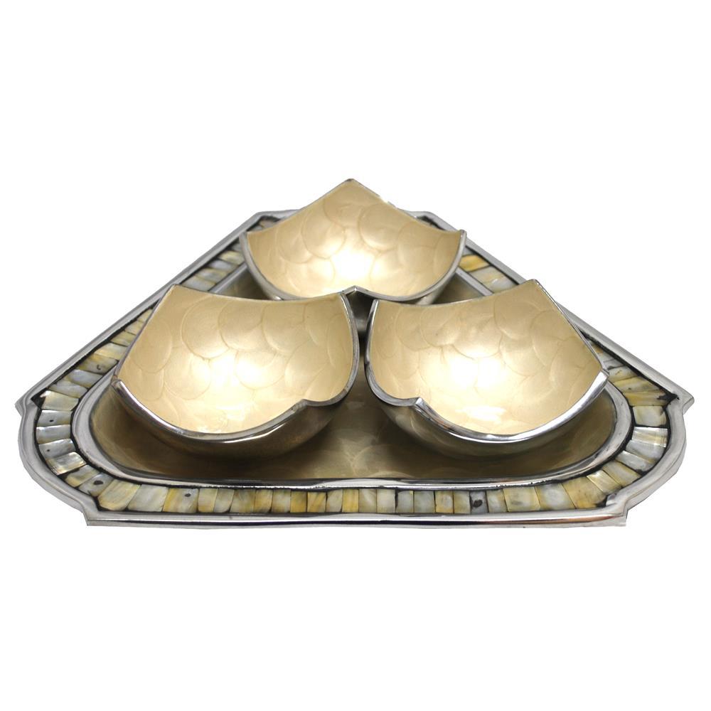 St. Croix A010 KINDWER Aluminum 3 Bowl & Triangular Tray Set in White