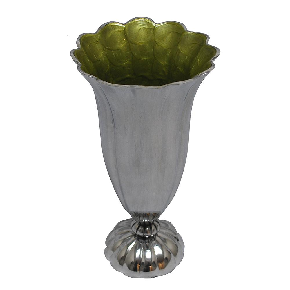 St. Croix A018 KINDWER Aluminum Scalloped Vase in Silver