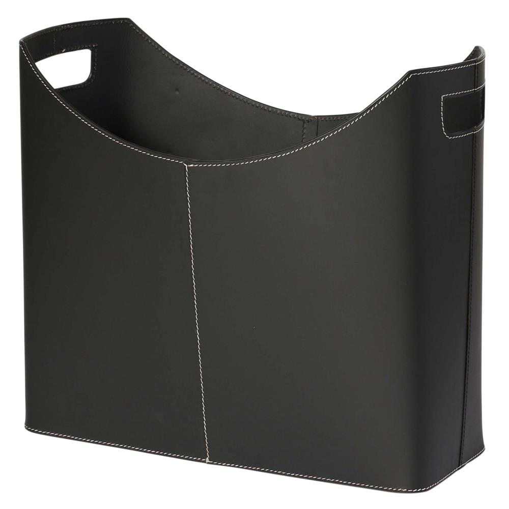 St. Croix A051 KINDWER Contemporary Black Leather Magazine Basket in Black