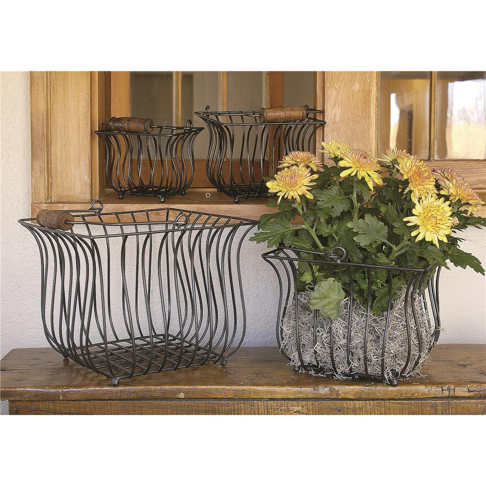 St. Croix A1028 KINDWER Set of 4 Square Iron Baskets with Wood Handles in Black