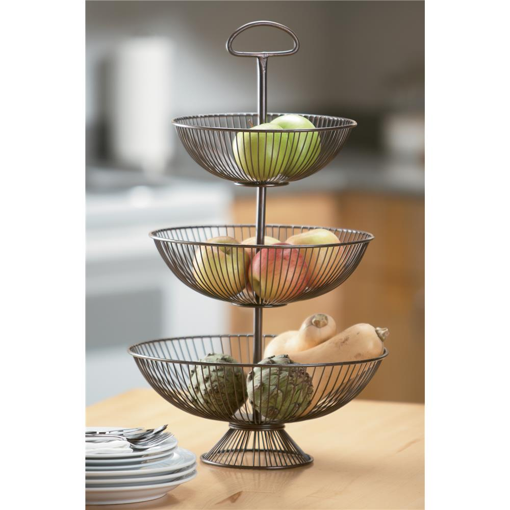 "St. Croix A1032 KINDWER 24"" Three-Tier Decorative Wire Basket Stand  in Brown"