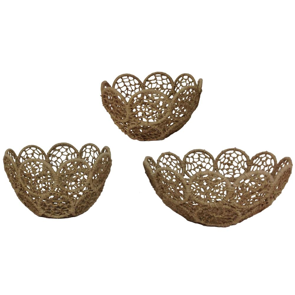 St. Croix A1044 KINDWER Set of 3 Jute Rope Baskets with Iron Frames in Natural