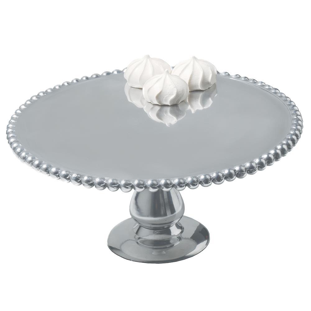 "St. Croix A1076 KINDWER 12"" Beaded Aluminum Cake Pillar in Silver"
