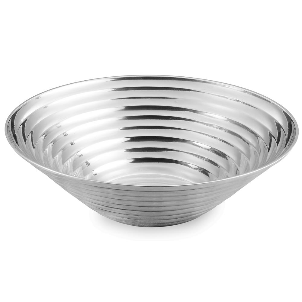 """St. Croix A1085 KINDWER 17"""" Ribbed Aluminum Round Bowl in Silver"""