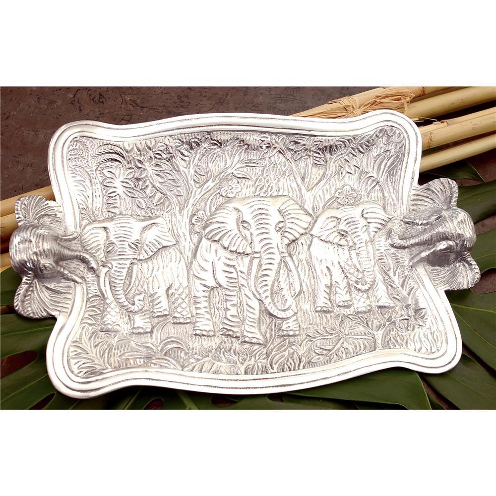 "St. Croix A1086 KINDWER 19"" Cast Aluminum Elephant Platter  in Silver"