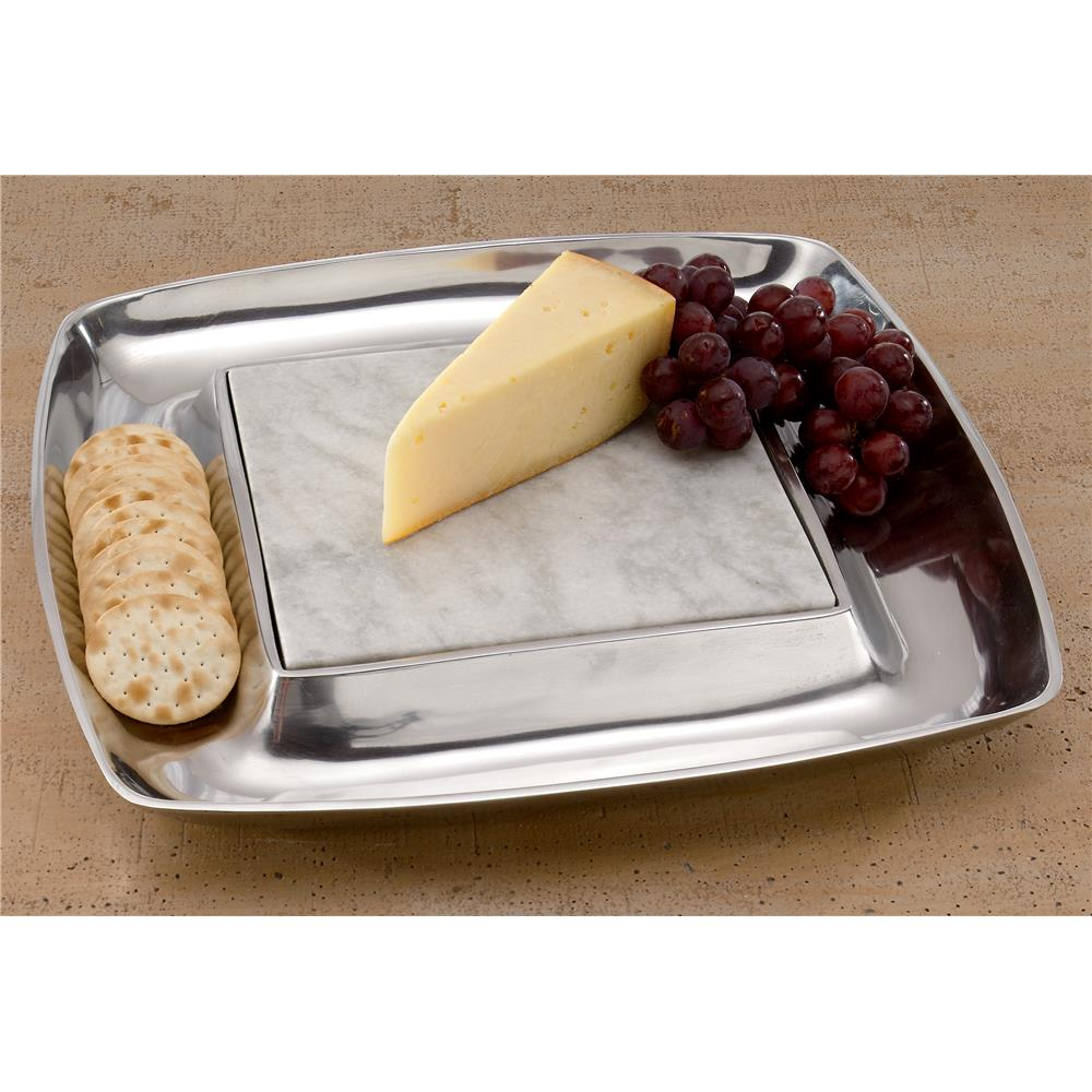 """St. Croix A1091 KINDWER 15"""" Square Aluminum Cheese Tray and Cracker Holder in Silver"""