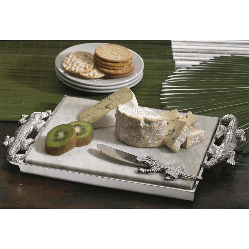 """St. Croix A1092 KINDWER 15"""" Crocodile Marble Cheese Tray & Spreader in Silver"""
