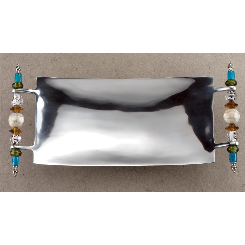 """St. Croix A1096 KINDWER 19"""" Multi Colored Beaded Serving Tray in Silver"""