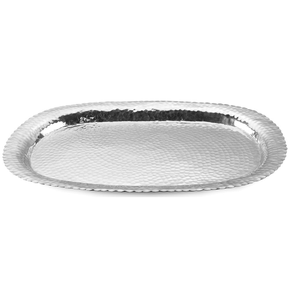 """St. Croix A1106 KINDWER Huge 31"""" Hammered Aluminum Oval Tray in Silver"""