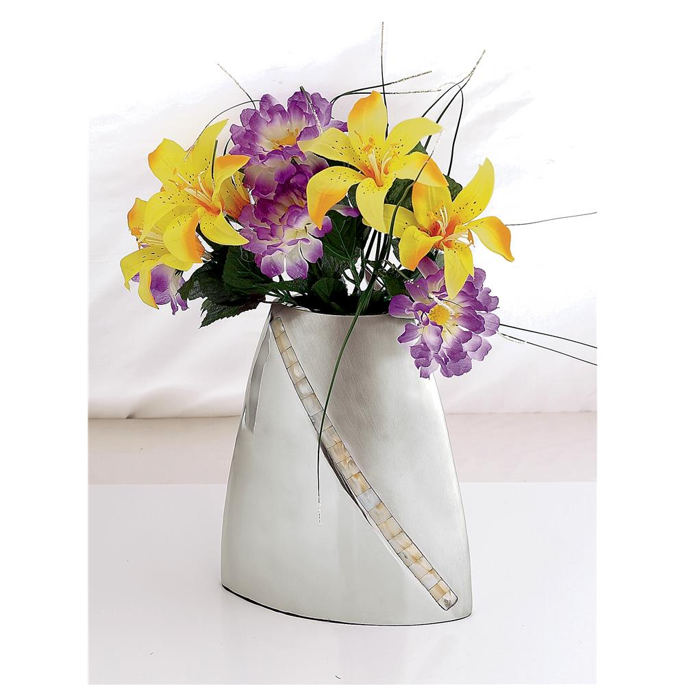 "St. Croix A1115 KINDWER 9"" Mother of Pearl Striped Two-Tone Vase in Silver"