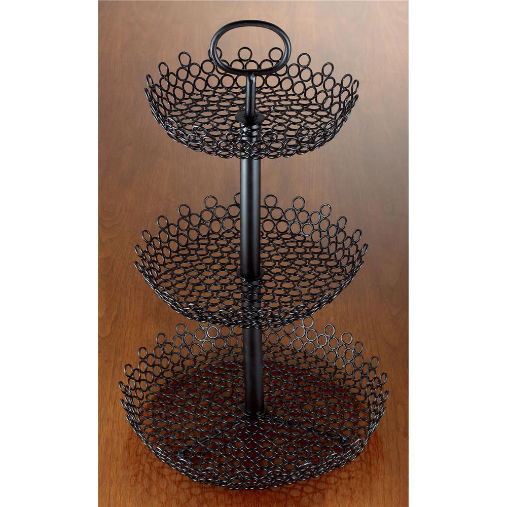 "St. Croix A1130 KINDWER 23"" Three-Tier Decorative Wire Fruit Basket in Black"