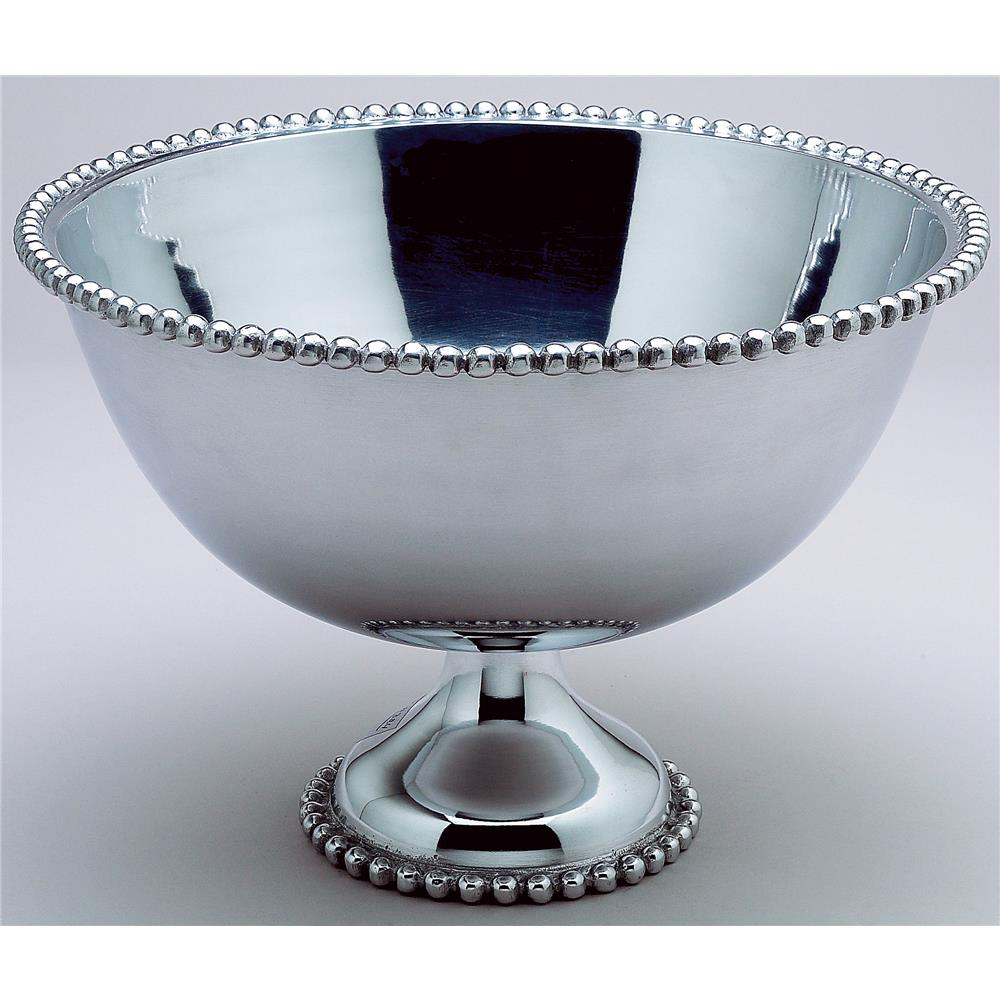 "St. Croix A1149 KINDWER Huge 16"" Beaded Aluminum Punch Bowl in Silver"