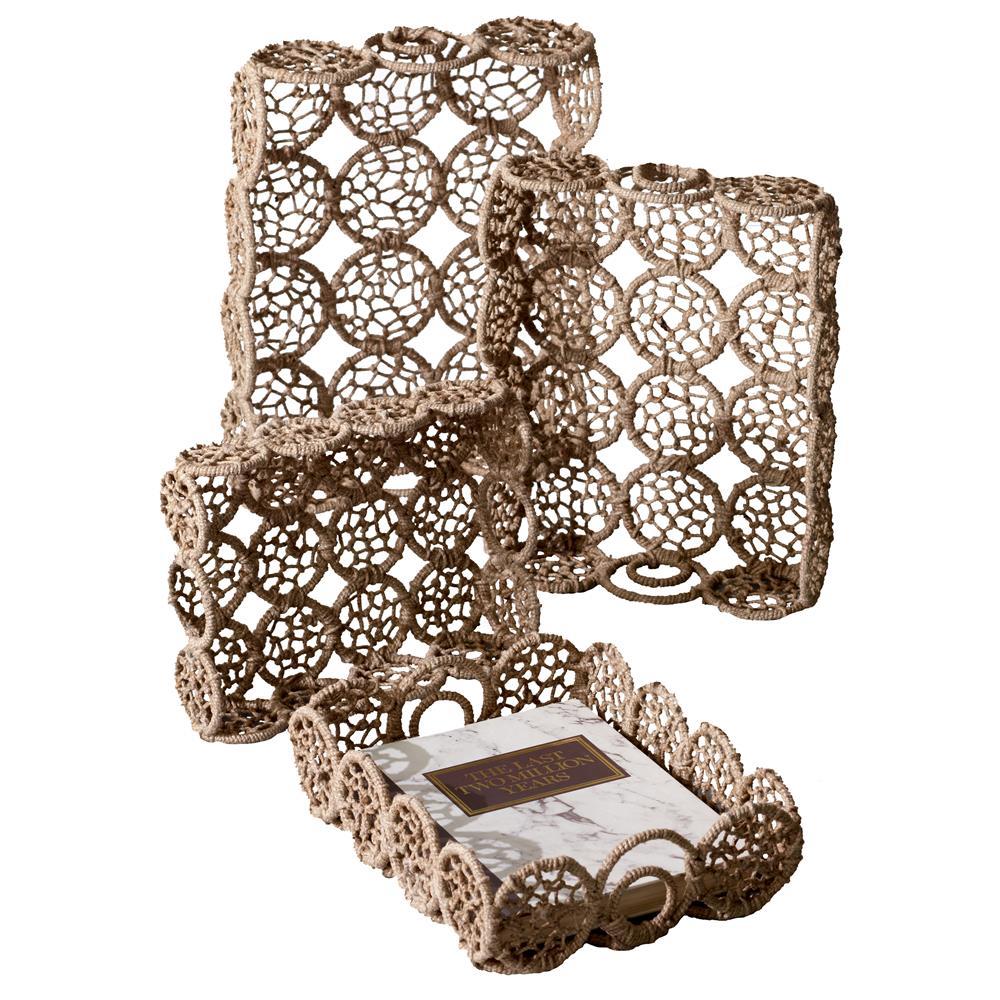 St. Croix A1165 KINDWER Weaved Jute Rectangle Basket Set of 4 in Natural