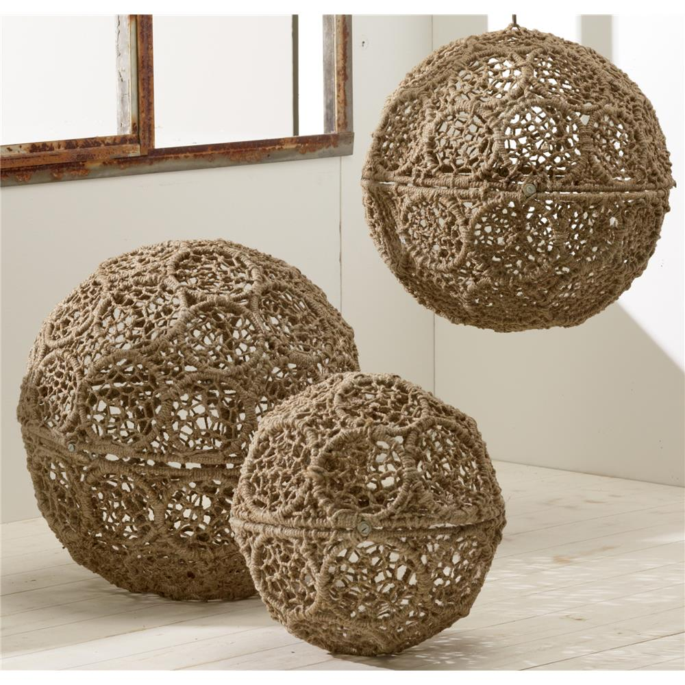 """St. Croix A1170 KINDWER Jute Wrapped Iron Decorative Ball Set of 3 – 18"""" / 16"""" / 12"""" in Natural"""