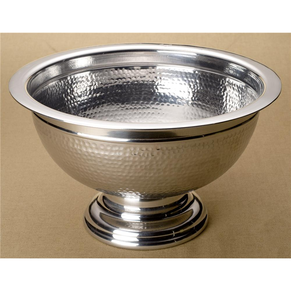 "St. Croix A1175 KINDWER 15"" Hammered Aluminum Pedestal Punchbowl in Silver"