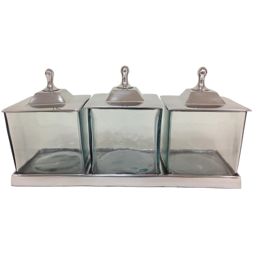 St. Croix A1193 KINDWER Apothecary 3 Jar Set with Tray & Lids in Silver