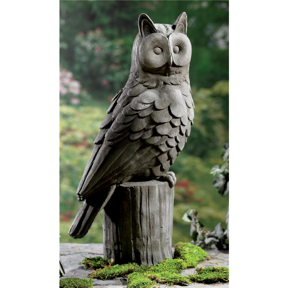 """St. Croix A1254 KINDWER 23"""" Large Owl Garden Statue in Grey"""