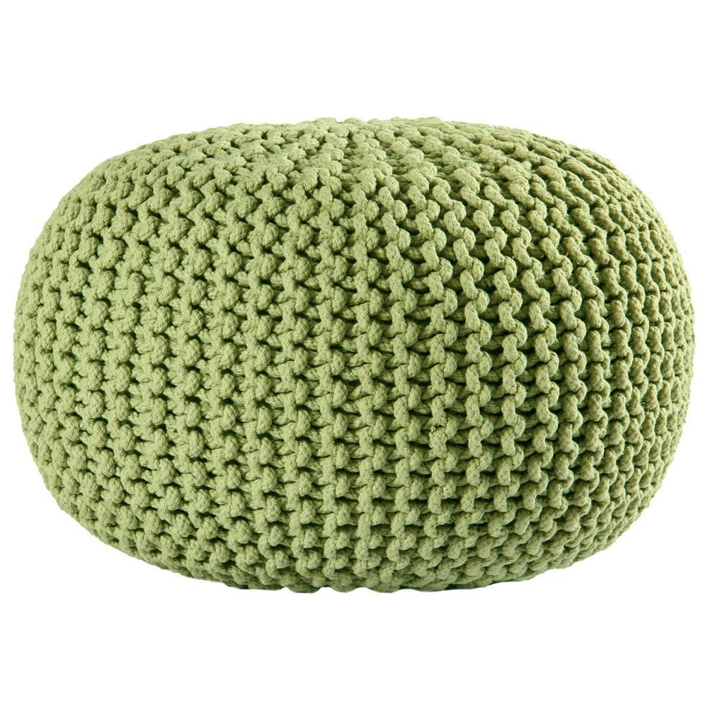 """St. Croix FCR1801 Pouf Ottoman 16"""" Green Cotton Rope Pouf Ottoman"""