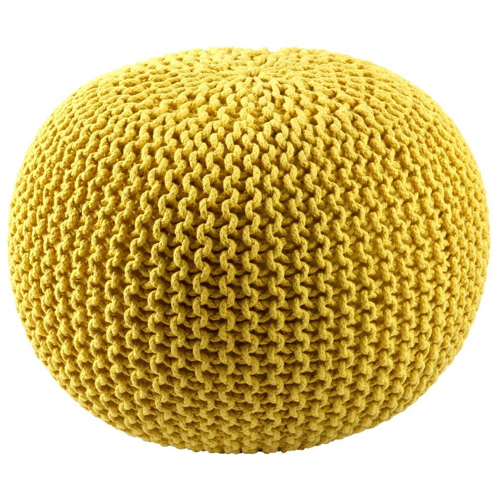 """St. Croix FCR1803 Pouf Ottoman 16"""" Yellow Cotton Rope Pouf Ottoman"""